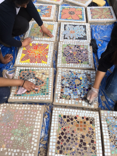 Grouting the Art Club Schoolyard Garden Pavers